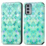 CASENEO 001 Series RFID Blocking Magnetic-Absorbed Pattern Printing Leather Wallet Phone Cover Shell with Adjustable Stand for Motorola Edge 20 – Emerald
