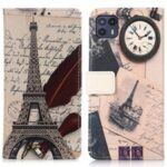 Pattern Printing PU Leather Attached Soft TPU Inner Case Magnetic Closure Wallet Stand Flip Phone Cover for Motorola Moto G50 5G – Eiffel Tower and Feather