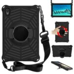 Spider Web Texture Heat Dissipation Anti-Drop Impact-Resistant Tablet Case Kickstand EVA Cover with Shoulder Strap for Lenovo Tab P11 TB-J606F 11-inch – Black