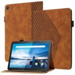 All-Inclusive Rhombus Imprinting Anti-Wear Skin-Touch PU Leather Tablet Protective Cover Case with Card Slots for Lenovo M10 FHD REL TB-X505F/X605F – Brown