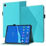 Drop-Proof Rhombus Imprinting Skin-Touch Leather + PU Tablet Protective Case Cover with Card Slots for Lenovo Tab M10 Plus TB-X606F – Lake Blue