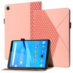 Drop-Proof Rhombus Imprinting Skin-Touch Leather + PU Tablet Protective Case Cover with Card Slots for Lenovo Tab M10 Plus TB-X606F – Rose Gold