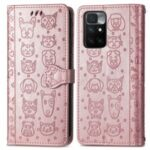 Stylish Cat Dog Pattern Imprint Magnetic Closure PU Leather Wallet Stand Case TPU Inner Shell Phone Cover for Xiaomi Redmi 10/10 Prime – Rose Gold