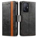 CASENEO 002 Series Shock Resistant Flip Phone Cover Business Style Splicing PU Leather Stand Wallet Case for Xiaomi 11T – Black