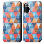 CASENEO 001 Series Adjustable Stand RFID Blocking Function Pattern Printing Leather Wallet Phone Cover Shell for Xiaomi Redmi Note 10 Pro 4G (Global)/(India) – Rhombus/Mandala