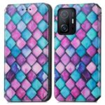 CASENEO 001 Series Unique Pattern Printing RFID Blocking Leather Phone Cover Shell with Wallet and Stand for Xiaomi 11T – Purple Scale