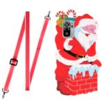3D Effect Santa/Christmas Deer Pattern Phone Cover TPU + Silicone Hybrid Case with Long Lanyard for Xiaomi Redmi Note 10 4G/Note 10S – Santa