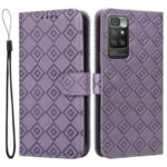 Grid Imprint PU Leather Flip Protective Phone Case Drop-resistant Stand Wallet Cover for Xiaomi Redmi 10/10 Prime – Purple