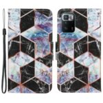 Folio Flip Magnetic Clasp Pattern Printing Leather Phone Case Wallet Stand Cover with Wrist Strap for Xiaomi Redmi Note 10 Pro 5G (China)/Poco X3 GT – Marble/Black