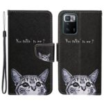 Pattern Printing Folio Flip Leather Phone Case Wallet Stand Cover with Wrist Strap for Xiaomi Redmi Note 10 Pro 5G (China)/Poco X3 GT – Little Cat