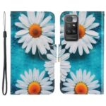 Pattern Printing PU Leather Magnetic Clasp Flip Folio Phone Guard Protective Wallet Stand Cover for Xiaomi Redmi 10/10 Prime – Chrysanthemum