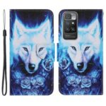 Pattern Printing Shockproof Leather Phone Case Wallet Cover with Wrist Strap for Xiaomi Redmi 10/Redmi 10 Prime – Rose and Wolf