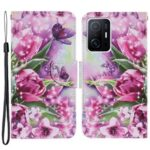 Pattern Printing Full Protection Leather Phone Case Stand Wallet Cover with Wrist Strap for Xiaomi 11T – Rose and Butterfly