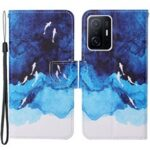 Pattern Printing Stand Wallet Design Protective Leather Case Phone Cover with Lanyard for Xiaomi 11T – Watercolor Fish