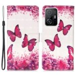 3D Pattern Printing Card Slots Shockproof Leather Case Wallet Stand Cover with Wrist Strap for Xiaomi 11T – Rose Red Butterfly