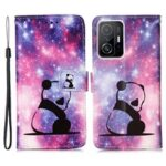 Stylish Pattern Printing Wrist Strap Anti-Drop Wallet Stand Design Folio Flip Leather Cover Case for Xiaomi 11T – Baby Panda