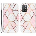 Marble Pattern Splicing Leather Case Wallet Stand Phone Cover Shell for Xiaomi Redmi 10 – Pink/White