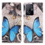 Pattern Printing Premium PU Leather Wallet Folio Flip Stand Protective Case for Xiaomi 11T / 11T Pro – Blue Butterfly