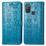 Cat Dog Pattern Imprint Anti-Fall Shockproof Magnetic Clasp PU Leather Wallet Stand Phone Cover for Alcatel 1S (2021) – Blue