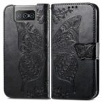 Imprinting Butterfly Flower Leather Protective Phone Cover Wallet Shell for Asus Zenfone 8 Flip – Black