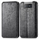 Imprinting Mandala Flower Auto-absorbed Folio Flip Leather Phone Stand Case Cover for Asus Zenfone 8 Flip – Black