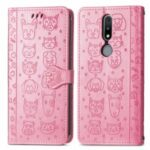 Cat Dog Pattern Imprint Dual-Sided Magnetic Clasp PU Leather Wallet Stand Scratch-Resistant Phone Cover for Nokia 2.4 – Pink