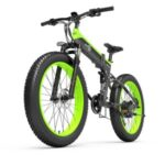 BEZIOR X1000 40KM/H Foldable Shock-absorbing Electric Bicycle Portable Mountain Moped E-Bike with 26 Inch Wheels – Black/Green