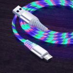 2m Glowing 3A Fast Charging Cable High-Speed Flowing Streamer Light LED Data Transfer Micro USB Cable – Multi-color