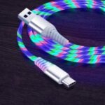 1m Glowing 3A Fast Charging Type-C Cable High-Speed Flowing Streamer Light LED Data Transfer USB Cable – Multi-color