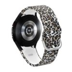 Stylish Pattern Printed Silicone Durable Smart Watch Band Strap Replacement for Samsung Galaxy Watch4 40mm/44mm/Watch4 Classic 42mm/46mm – Brown Leopard