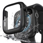 Waterproof Hard PC Watch Case Cover with 9H Tempered Glass Screen Protector for Apple Watch Series SE/6/5/4 44mm – Black