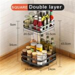 Rotatable Spice Rack Jar Can Bottle Storage Kitchen Cabinet Organizer – Square//2-layer