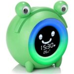 For Kids Cartoon Frog Thermometer Alarm Clock Table Bedside Night Lamp – Green