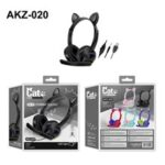 For Phones PC Tablet Kids Colorful Light Wired Cat Ear Headphones with Mic – Black