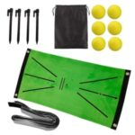 Non-slip Golf Hitting Mat for Swing Detection Batting Portable Golf Practice Training Aids Rug 24 x 12 inch with 6 Golf Balls