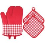 ESONMUS Kitchen Heat Resistant Silicone Oven Protective Gloves Non-Slip Baking Mittens + 2 Cotton Pot Pads – Red